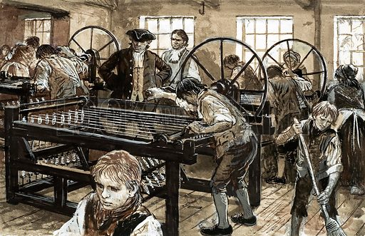 Workers in a Lancashire cotton mill, 18th Century. Original artwork from Look and Learn no. 620 (9 February 1974).