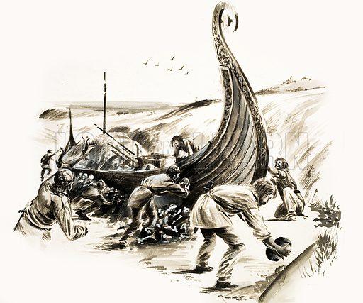 Viking burial ship, picture, image, illustration