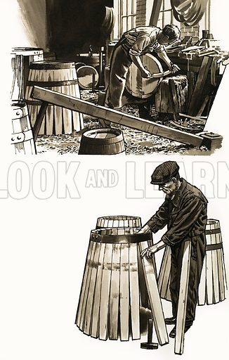 Barrels of Oak. Original artwork from Look and Learn Book 1981.