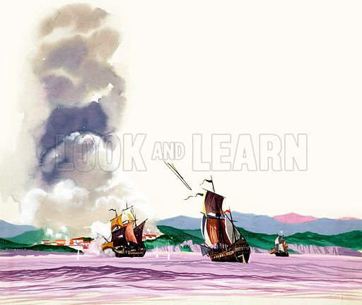 Unidentified battle with sailing ships firing at shore (heavy with smoke) and fire being returned. Original artwork.