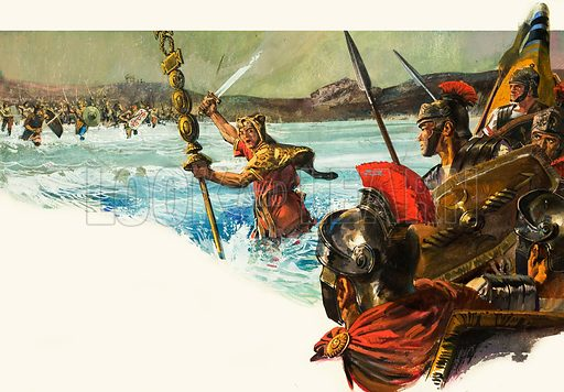 Unidentified Roman legions invade Britain. Original artwork.