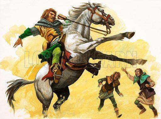 Unidentified rider on bucking horse. Original artwork.