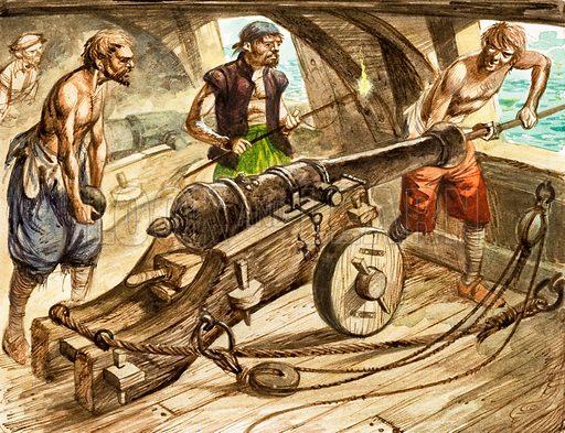 Gun crew loading a cannon on board a warship. Original artwork.