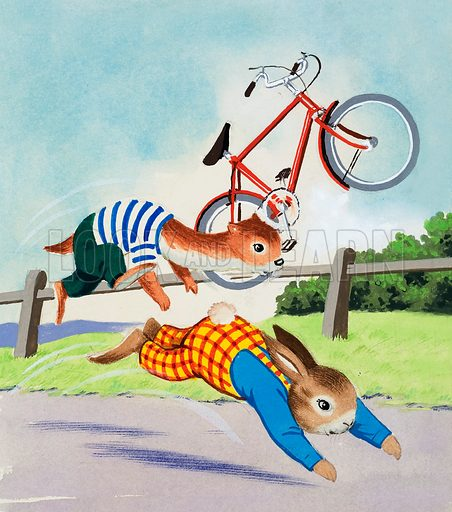 Tufty and bicycle. Original artwork (dated 1968).