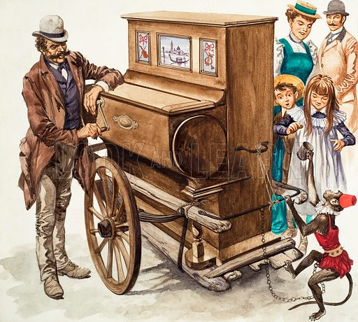 Organ grinder and monkey. Original artwork.