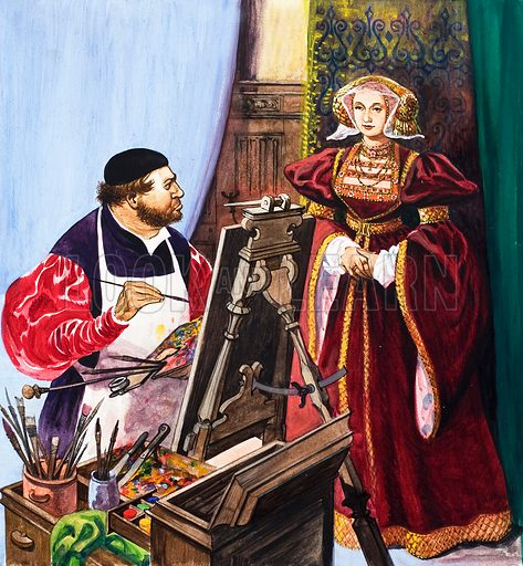Holbein painting a portrait of Anne of Cleves. Original artwork (dated 25 May).