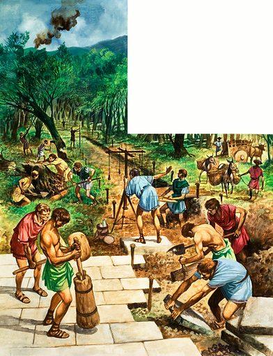 Building a Roman road. Original artwork from Treasure no. 250 (28/10/67).