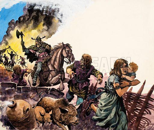 Saxon Raiders. Original artwork for illustration on p23 of Treasure annual 1968.