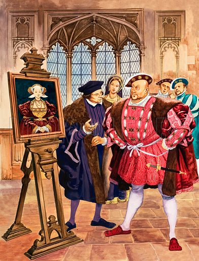 King Henry VIII admiring Holbein's portrait of Anne of Cleves.