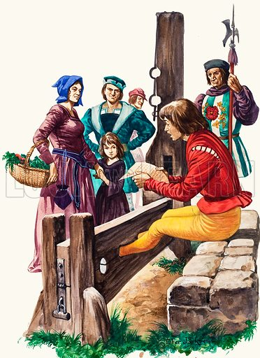 The Wonderful Story of Britain: The Two False Princes. Perkin Warbeck is put in the stocks in London. Original artwork from Treasure no. 79; also used in Look and Learn Book 1980.