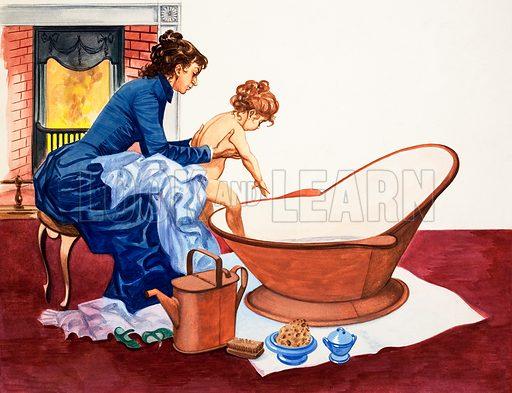 Bathing the baby. Original artwork from Treasure no. 269 (9/3/68).