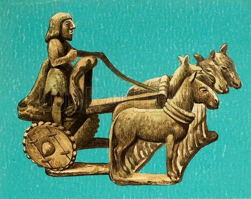 Wooden-wheeled chariot.
