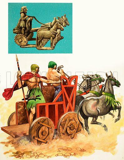 Wooden-wheeled chariot. Original artwork from Treasure no. 217 (11/3/67).