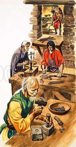 The Wonderful Story of Britain: The Wise King Edward. Coin-makers making silver pennies at the mint. Original artwork from Treasure no. 49 (21 December 1963).