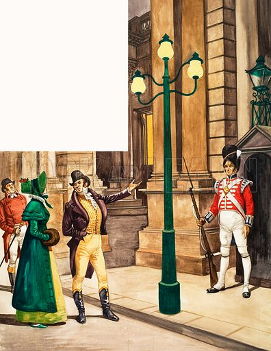 The Wonderful Story of Britain: Britain's First Gas Lamps. People admiring the gas light which was put up outside the Prince Regent's home. Original artwork from Treasure no. 161 (12 February 1965).