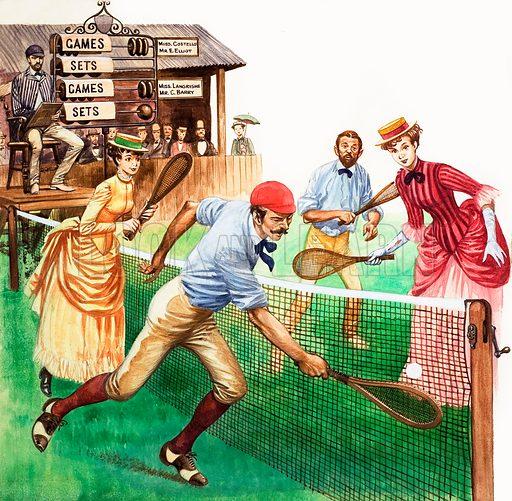 Playing Tennis. Original artwork.