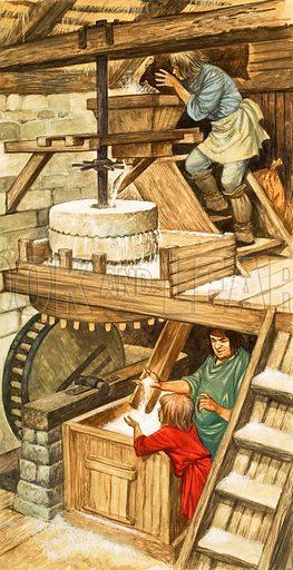 Milling Grain. Original artwork from Treasure (24/4/69).