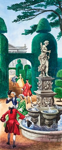 Gentlemen at a fountain. Original artwork (15/2/69).