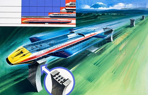 Sonic Glider Train. Original artwork for illustration on pp34–35 of Speed and Power Annual no 1.