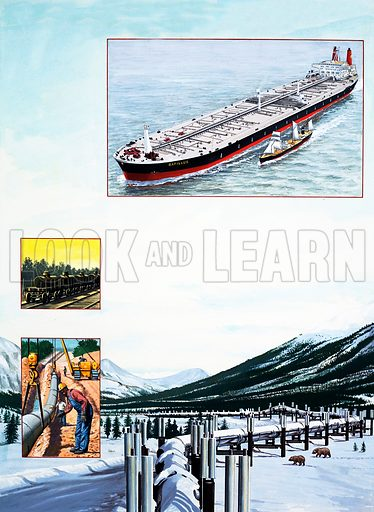 The Story of Oil: Twentieth-Century Treasure Hunt. Original artwork from Look and Learn no. 1038 (30 January 1982).
