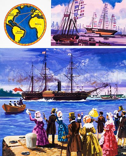 They Sailed the Seven Seas: Great Steamers, White and Gold (The Royal Mail Line). Original artwork from Look and Learn no. 447 (8 August 1970).