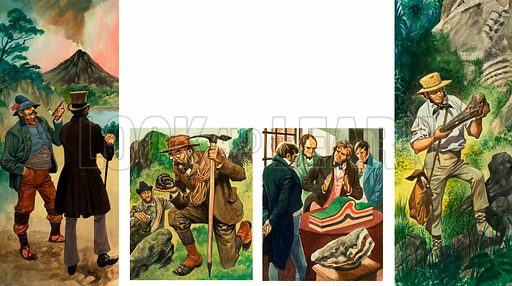 Unidentified sequence of illustrations depicting geological exploration. Original artwork.