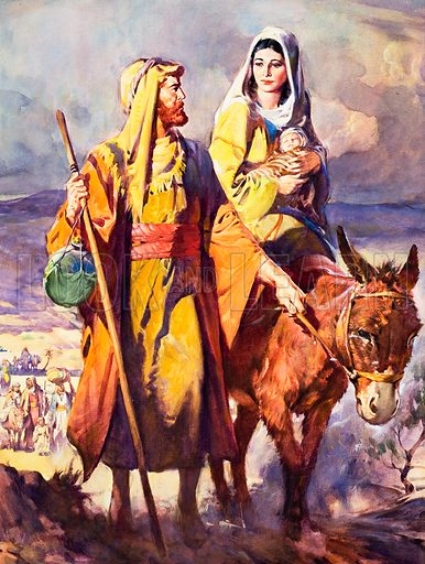 The Flight into Egypt.  Original artwork for cover of The Bible Story no 6.