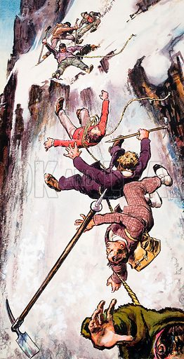 Falling off the Matterhorn. Suddenly the rope snapped and the four men slid backwards, disappearing one by one to their deaths four thousand feet below.  Original artwork for illustration on p33 of Ranger issue no 5.
