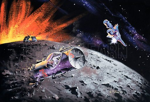 Spacecraft over the moon. Original artwork from Speed and Power.