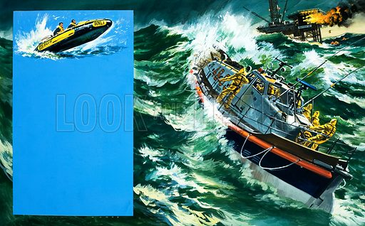 Danger is Their Business: Heroes of the Sea. Original artwork from Look and Learn no. 397 (23 August 1969).