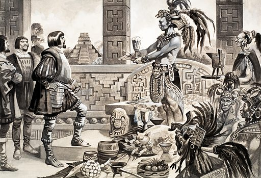 Spanish Conquistador Hernan Cortes in Mexico. Original artwork (dated 21/11/70).