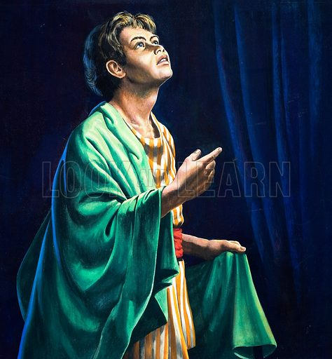 "Samuel. ""Speak for thy servant heareth."" I Samuel 3:10 Original artwork for cover of The Bible Story no 28."