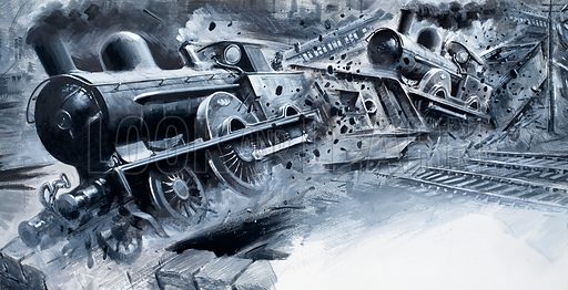 Off the Rails: Night of Disaster. The crash of the express service at Preston on 15 August 1896. Original artwork from Look and Learn no. 478 (13 March 1971). Also used in Look and Learn Book 1986.