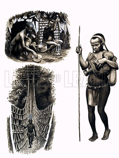 Ancient Peoples of the World: Tiny Trappers of the Jungle – the Pygmies are an ancient but still mysterious people. Original artwork from Look and Learn no. 101 (21 December 1963). Also in Look and Learn Book 1986.