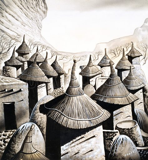 Primitive Homes: The Roof Tops of the Banani. Original artwork from Look and Learn no. 478 (13 March 1971; reused in L&L Book 1986).