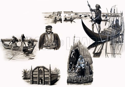 Ancient Peoples of the World: Men of the Home-Made Islands. Original artwork from Look and Learn no. 98 (30 November 1963). Also in Look and Learn Book 1986.
