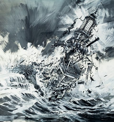 Sentinels of the Ocean (destruction of the Pharos Lighthouse). Original artwork from Look and Learn Book 1986.