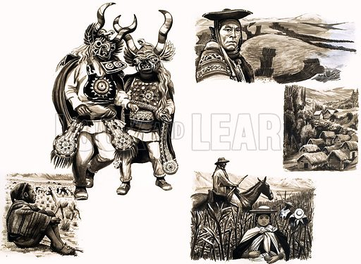 Ancient Peoples of the World: Tragic Men of the Mountains. Original artwork from Look and Learn no. 100 (14 December 1963). Also in Look and Learn Book 1986.