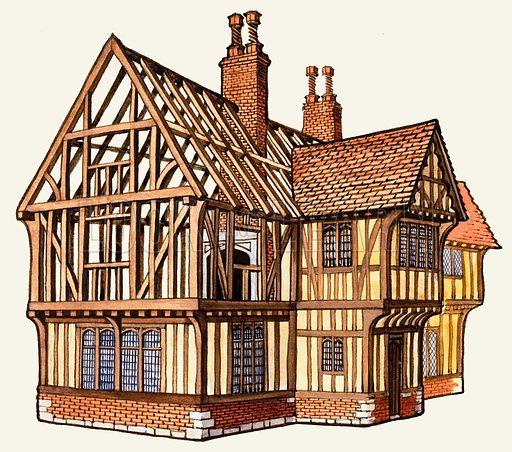 The Wonderful Story of Britain: Building a Tudor House. Original artwork from Treasure no. 98 (28 November 1964).