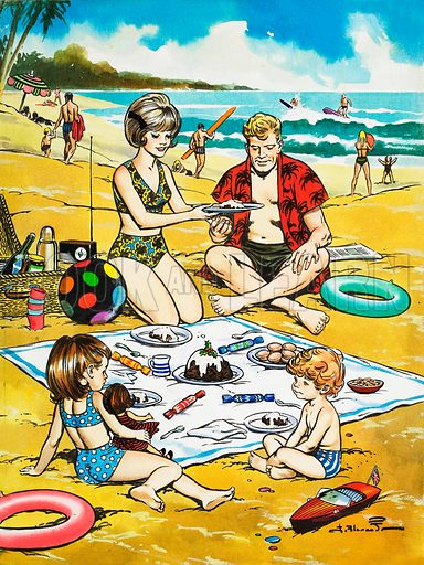 A Christmas picnic on the beach. Original artwork from Teddy Bear (30 December 1967).