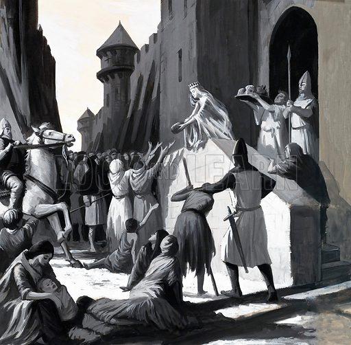 Unidentified queen handing out food to the poor. Original artwork (dated 21 June).