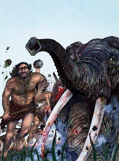 Stone Age Hunters. Original artwork.