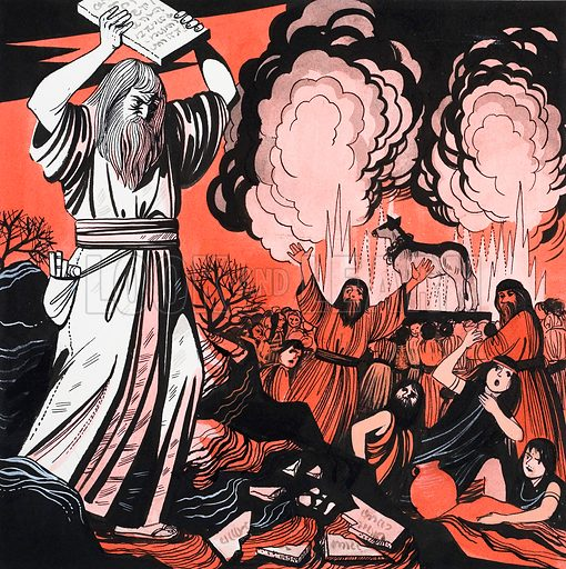 Moses breaking the tablets. Original artwork from Treasure Annual 1972.