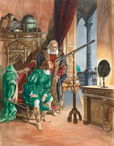 Galileo, now blind, lets a friend look at the stars through his telescope from the balcony of his study in Pisa.