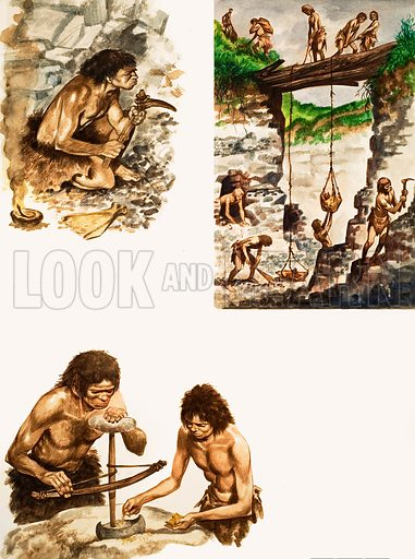 The History of Our Wonderful World: Stone Age Toolmakers. Original artwork from Treasure no. 210 (21 January 1967).