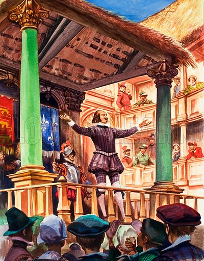 Shakespeare on the stage of the newly built Globe theatre.