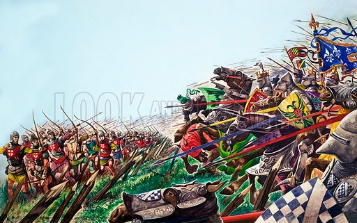 French knights charging towards English longbowmen at the Battle of Agincourt, Hundred Years War, France, 1415. Original artwork from Treasure no. 67 (25 April 1964).