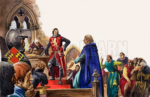 The Wonderful Story of Britain: The Barons' War. Simon de Montfort meets the men who have come to his Parliament in London. Original artwork from Treasure no. 47 (7 December 1963).