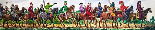 """The Wonderful Story of Britain: The Poet Chaucer and the Pilgrims. A procession of pilgrims from the """"Canterbury Tales"""" led by Chaucer himself. Original artwork from Treasure no. 66 (18 April 1964)."""