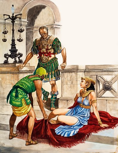 When They Were Young: Cleopatra's Childhood. Cleopatra, Queen of Egypt, is revealed to Julius Caesar after her slave unfurls the carpet he has presentd to the Roman general. Original artwork from Treasure no. 176 (28 May 1966).
